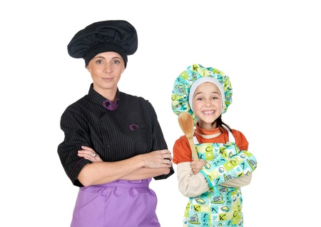 daugther: Family of cooks isolated on white background