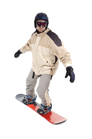 Boy snowboarding isolated on a over white background photo