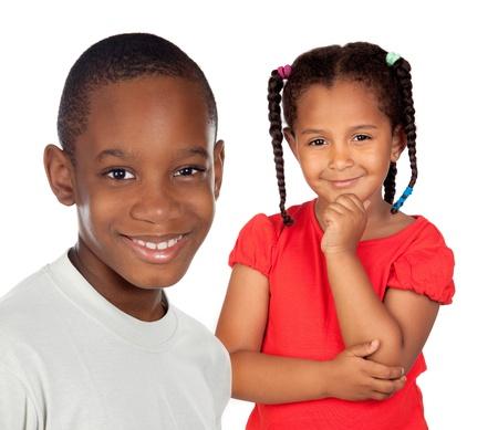 rozradostněný: Africké bratři děti izolovaných na bílém pozadí Reklamní fotografie