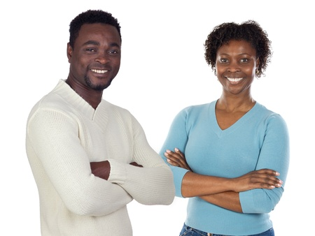 African couple isolated on a over white background photo