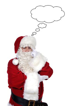 Santa Claus with a thoughtful expression over white background photo