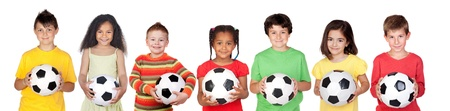 kids  soccer: Soccer team isolated on a over white background Stock Photo