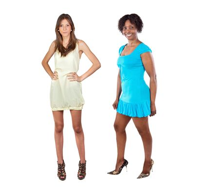 Two beautiful girls with heel shoes isolated on a over white background photo
