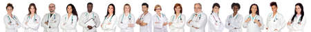 Medical team with white uniform on a over white background photo