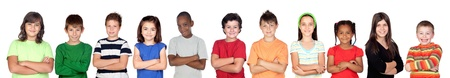 play school: Children«s group with crossed arms isolated on white background Stock Photo