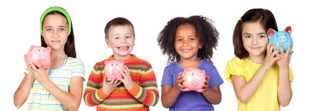 Four happy children with moneybox savings isolated over white photo