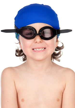 Funny boy with glasses and hat swimmer ready to learn to swim isolated on blano photo