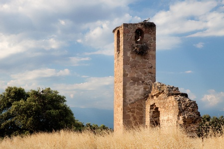 Old tower ruins with a beatiful sky photo
