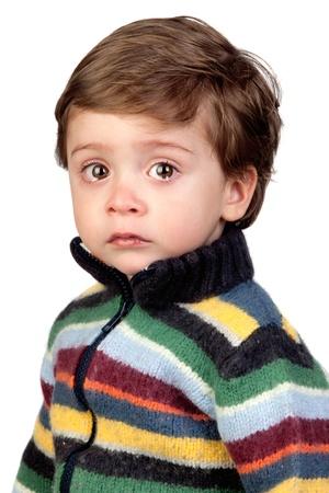 niño llorando: Hermoso bebé llorando aisladas sobre fondo blanco Foto de archivo