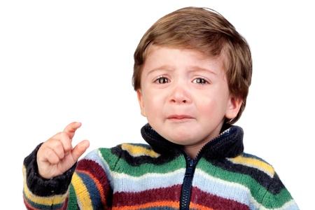 tantrums: Bello bambino piangere isolato su sfondo bianco Archivio Fotografico