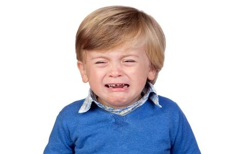 Beautiful baby crying isolated on white background Stock Photo - 12866342