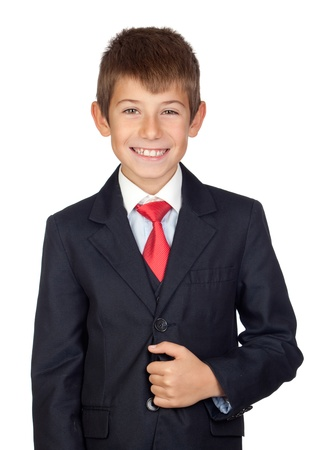 Little businessman isolated on a over white background photo