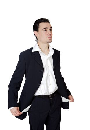 Young businessman in the ruins a over white background photo