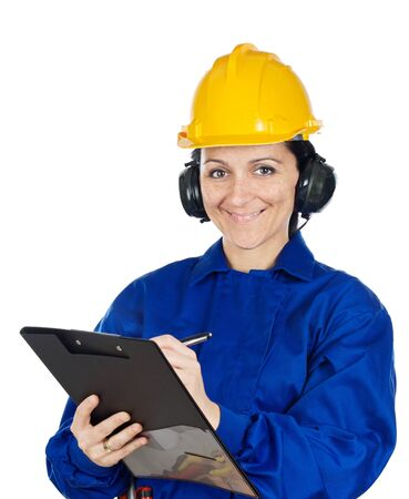 Woman construction worker a over white background photo