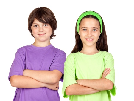Couple of children with crossed arms isolated on white background Stock Photo - 13759056