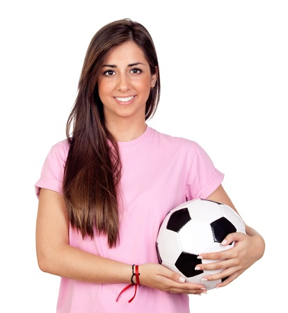 atractive: Atractive girl with a soccer ball isolated on white background