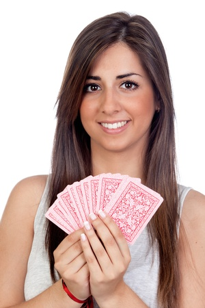 Atractive girl playing cards isolated on white background photo