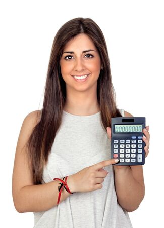 Atractive girl with a calculator isolated on white background photo