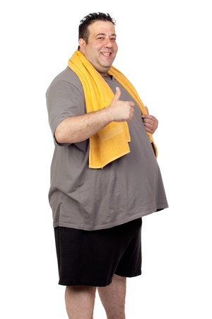 Fat man playing sport isolated on a white background Stock Photo - 14018507