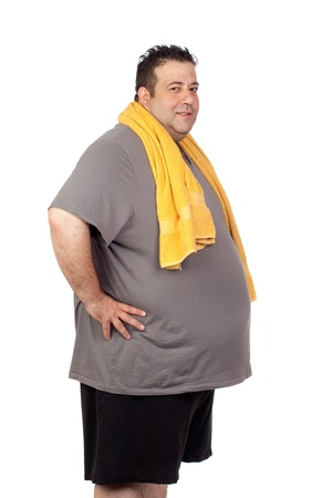 morbidity: Fat man playing sport isolated on a white background Stock Photo