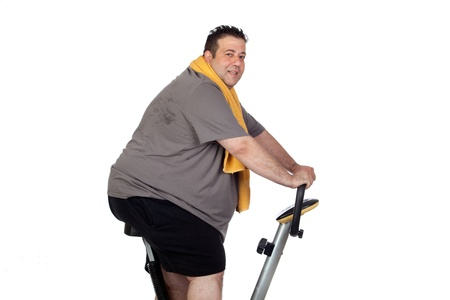 potbelly: Fat man playing sport isolated on a white background Stock Photo