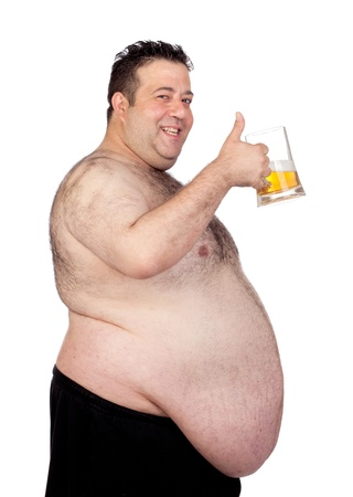 Fat man drinking a jar of beer isolated on white background Stock Photo