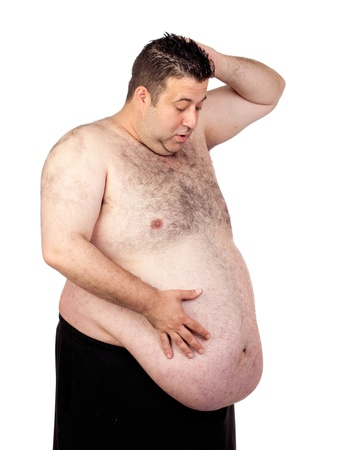 Surprised fat man isolated on white background Stock Photo