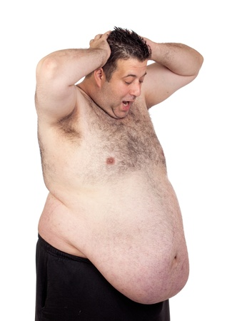 m�nner nackt: �berrascht dicker Mann isoliert auf wei�em Hintergrund Lizenzfreie Bilder