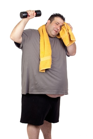 endeavor: Fat man playing sport isolated on a white background Stock Photo