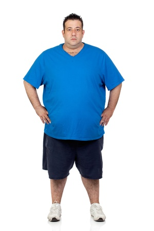 fat man: Seriously fat man isolated on white background