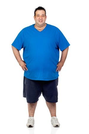 grasse: Heureux gros homme isol� sur fond blanc