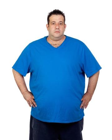 obeso: Hombre serio de grasa aislados sobre fondo blanco