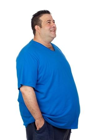obesidad: Feliz el hombre de grasa aislados sobre fondo blanco