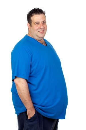 Happy fat man isolated on white background Banco de Imagens