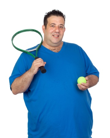 Fat man with a racket for play tennis isolated on white background photo