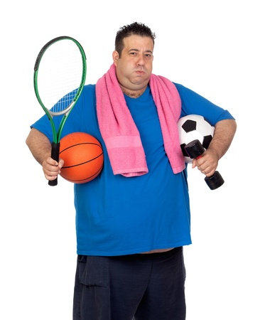 Fat man busy with many sports isolated on white background Stock Photo