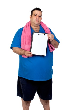 morbidity: Fat man with a blank paper isolated on a white background
