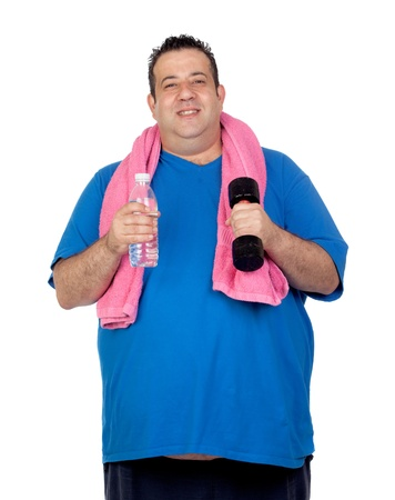 debugging: Fat man in the gym with a water bottle isolated on a white background
