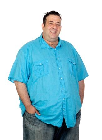 pancia grassa: Felice l'uomo grasso con camicia blu isolato su sfondo bianco