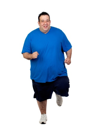 Fat man running isolated on white background photo