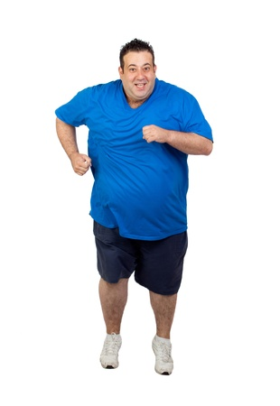 Fat man running isolated on white background