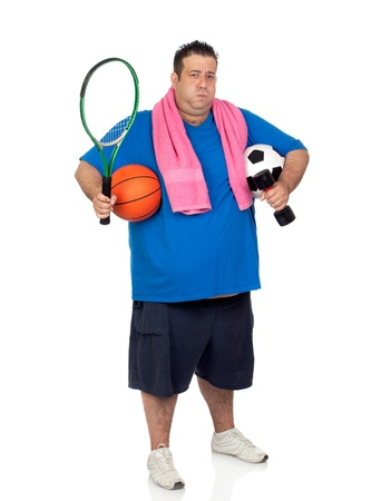 Fat man busy with many sports isolated on white background photo