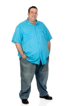 belly fat: Happy fat man with blue shirt isolated on white background Stock Photo