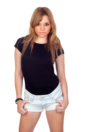 rebellious: Teen rebellious girl isolated on a over white background Stock Photo