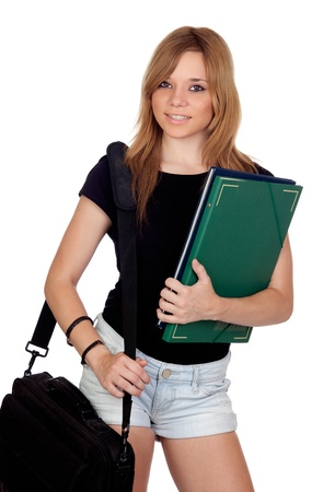 teen girl: Blonde university girl isolated on a over white background Stock Photo