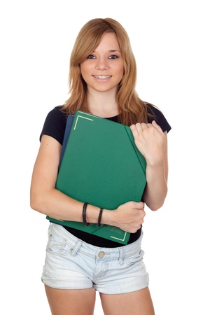 spanish girl: Blonde university girl isolated on a over white background Stock Photo