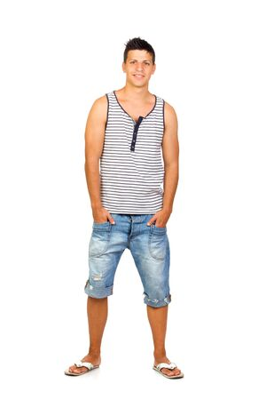 summer wear: Young Casual Man with Summer Wear Isolated on White Stock Photo