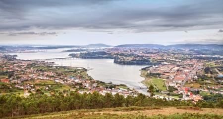 estuary: Aerial view of the beautiful estuary Ferrol in Spain