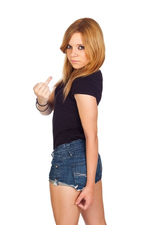 arrogant teen: Cute Young Woman Showing her Finger Isolated on White