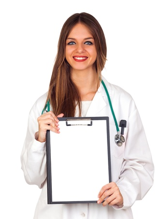 Beautiful young doctor holding a blank folder isolated on white photo